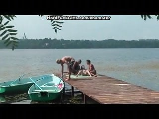Clit dock - Group sex on the dock in front of everybody