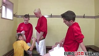 Locker room group banging with young soccer players
