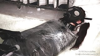 Latex lesbian plastic wrap mummification