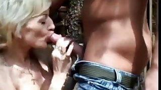 Hot Granny Cougar Banged Outside