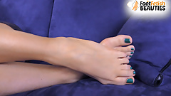 Barefoot teen teases you using her lovely feet and toes