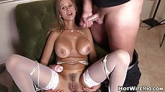 Handjob, blowjob and cumshot on a beautiful woman, compilation