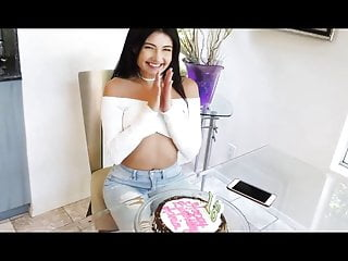 Sexy birthday girl picture - Cute birthday girl gets a thick present in the ass
