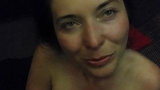 Sauna sex, suck and cum over tits