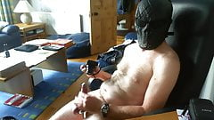 Wank with cock rings and mask