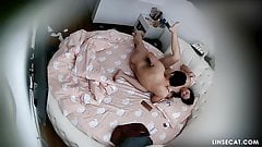 Hidden camera in hotel room caught young couple fucking hard