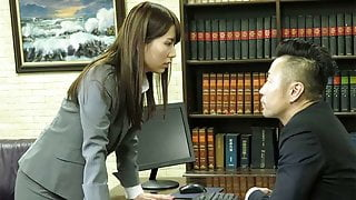 Slutty Japanese chick Yui Hatano blows hard hairy fuck stick