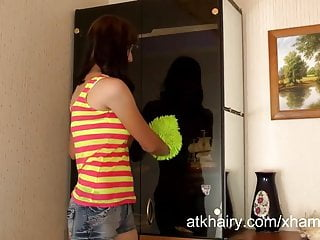 Sexy hairy muffs - Alta cleans her house and her muff