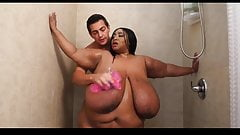 SSBBW with gigantic tits takes a shower... Then gets fucked