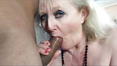 Granny porn queen Claire Knight fucks young black stud