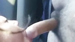 BBW Asian MILF swallowing cum in car