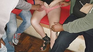 Cuckold with Wife and Strangers in a porn movie theater
