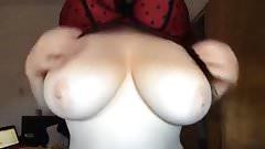 Gf reveals her massive tits on cam