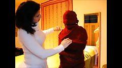 Mummified, bound and cuddled by woman
