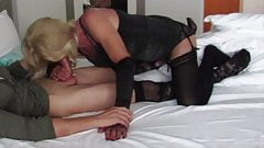 Mature blond tgirl gives a blowjob and is then fucked