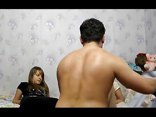 Mother and daugter threesome - Russian girl, mature mother and moms lover threesome