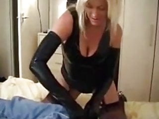 Rhino latex gloves - Blonde milf wearing latex gloves big cock handjob
