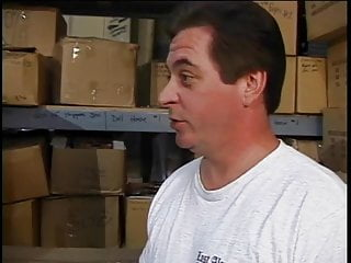 Hairy mature brunette - Mature brunette gives guy head in warehouse and gets fucked