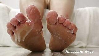 Clean my dirty feet of cum 2