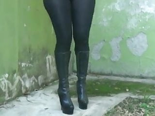 Sexy buitifull legs Showing her sexy big ass in black see through leggings