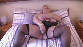 BBW  Huge Tits British Blonde Fingers on Bed