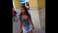 Candid voyeur gorgeous teen with sister shopping
