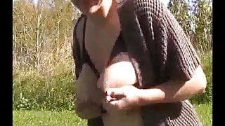 Milky tits girl on webcam lactating
