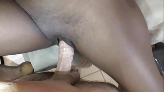 Tiny little black cunt for big white penis