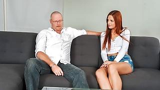 DADDY4K. Comely redhead cheats on coward boyfriend