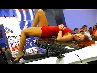Sexy car show - More car show upskirts by dancing girls