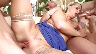 Experineced blonde in stockings can handle three hard cocks