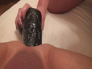 Black gapping anal - Big strapon, gap, huge load, big toys, cum