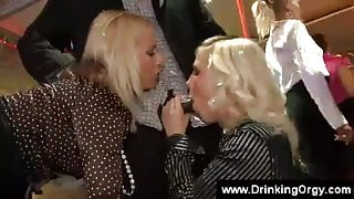 Blonde sucks a black guy during a party