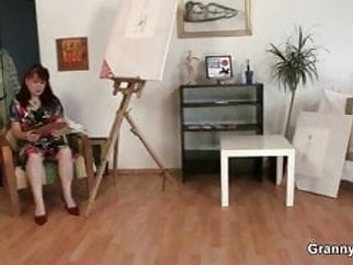 Cock hungry mature women Cock hungry mature paintress takes it hard
