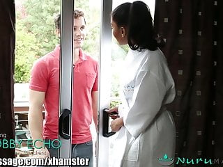 Masseuse fucks client - Nurumassage ebony masseuse on white client