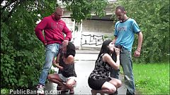 Street PUBLIC sex orgy with a very pregnant girl