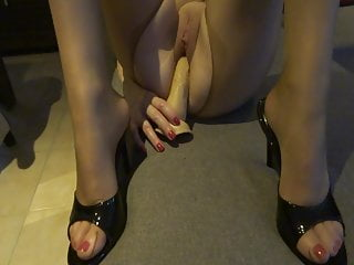 Older milfs with big open pussies - My sexy slut in opened pantyhose with big dildo