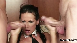 Big Tit Mother get fucked by 2 big Dick in German Casting