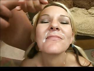 Blonde facial of cum - Creamy blonde facial cum face