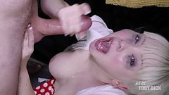 Blonde Doll's EYES BULGE from extreme FACEFUCK!