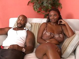 Big brunette cock sucking tit - Cock sucking ebony babe gets creampie after riding black dick in sofa