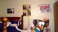 Busty amateur girlfriend masturbation in front of her webcam