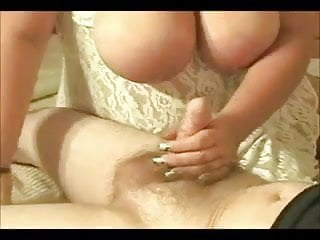 Bbw big tits handjob Horny fat bbw gf with big tits playing with my dick