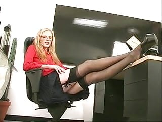 Sexy brunettte strip Skinny sexy blonde coworker strips and plays with a dildo at the office