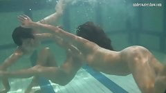 Ivetta and Katka and Barbara hot underwater lesbians