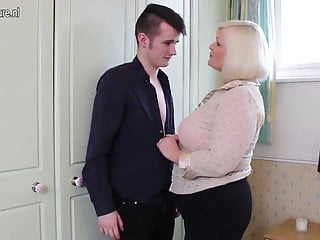 Sexy play boy Big british mother playing with young toy boy