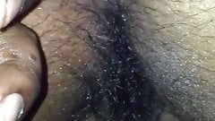 Fingering my chubby wife hairy pussy and ass