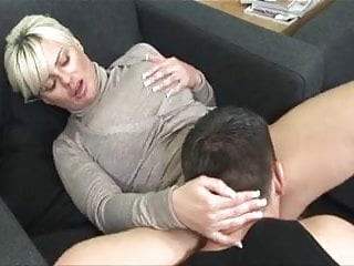 Pussy fucked until it drips - Milf in a cardigan fucked until a creampie