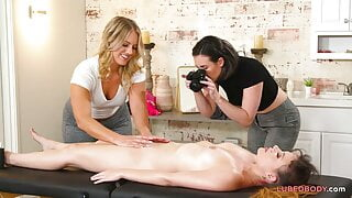 PAWG masseur having sex with lesbian friend