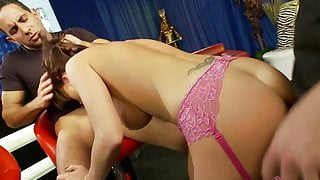 Paige Ashley sustains hardcore fucking by two hungry shafts